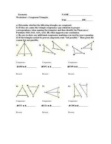 Triangle Congruence Practice Worksheet Along with Worksheet Answers for Geometry Kidz Activities