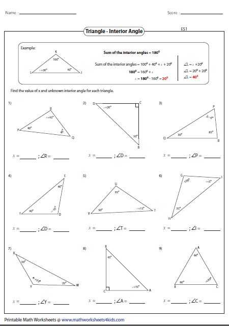 Triangle Interior Angle Worksheet Answers Along with 922 Best Geometria Images On Pinterest