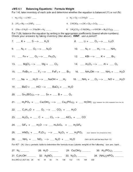 Types Of Chemical Reaction Worksheet Ch 7 Answers Along with Worksheets 44 Inspirational Balancing Equations Worksheet Answers
