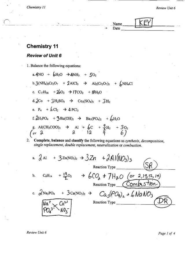 Types Of Chemical Reaction Worksheet Ch 7 Answers as Well as Types Chemical Reactions Worksheet Unique Chemical Word Equations