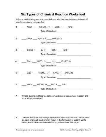Types Of Chemical Reaction Worksheet Ch 7 together with Awesome Classifying Chemical Reactions Worksheet Answers Awesome