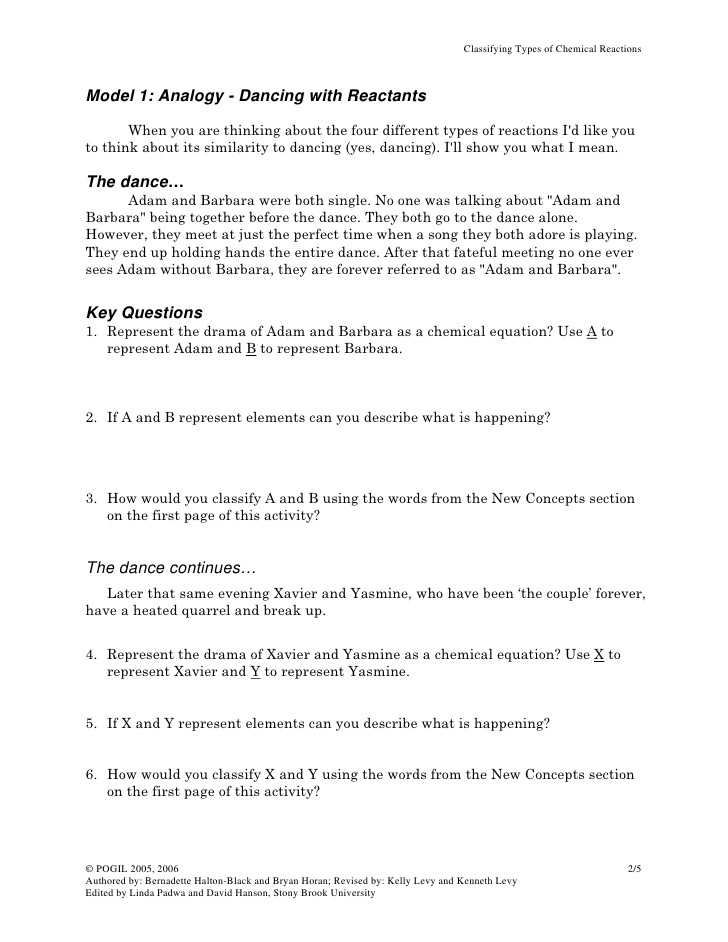 Types Of Reactions Worksheet Answer Key with 57 Types Of Chemical Reactions Worksheet Pogil Impression