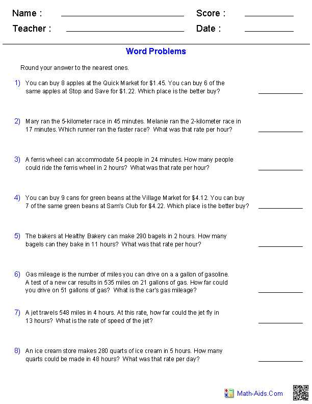 Unit Rate Worksheet 7th Grade or Ratios Amd Rate Word Problems Worksheets Math Aids