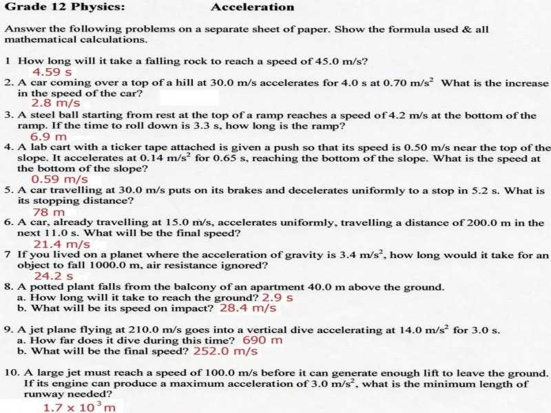 Velocity Acceleration Worksheets Answer Key or Speed Velocity and Acceleration Worksheet with Answers Gallery