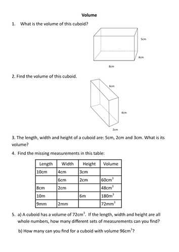 Volume Of Prisms Worksheet as Well as Finding the Volume Of A Cuboid Rag by Rishna S Teaching Resources