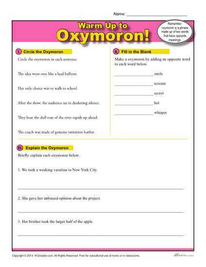 Warm Up to Paradox Worksheet Answers Also Oxymoron Warm Up Activity