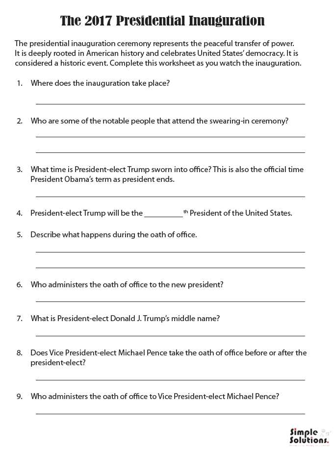 Will Preparation Worksheet Also to Make the Inauguration A Little More Exciting for Students why