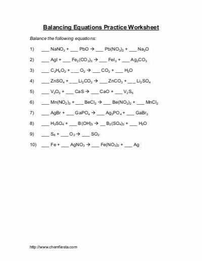 Word Equations Chemistry Worksheet Along with 58 Fresh Balanced or Unbalanced Equations Worksheet Answers – Free