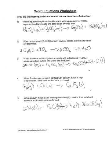Word Equations Chemistry Worksheet or Word Equations Worksheet Answers the Best Worksheets Image