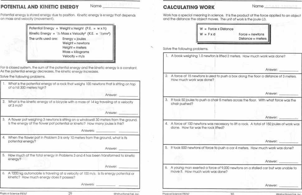 Work Power and Energy Worksheet or Worksheets 42 New Kinetic and Potential Energy Worksheet Hd