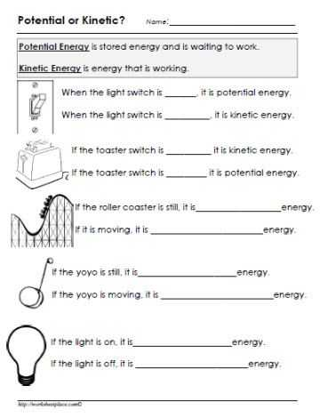 Worksheet Kinetic and Potential Energy Problems Answer Key Along with Potential or Kinetic Energy Worksheet Gr8 Pinterest
