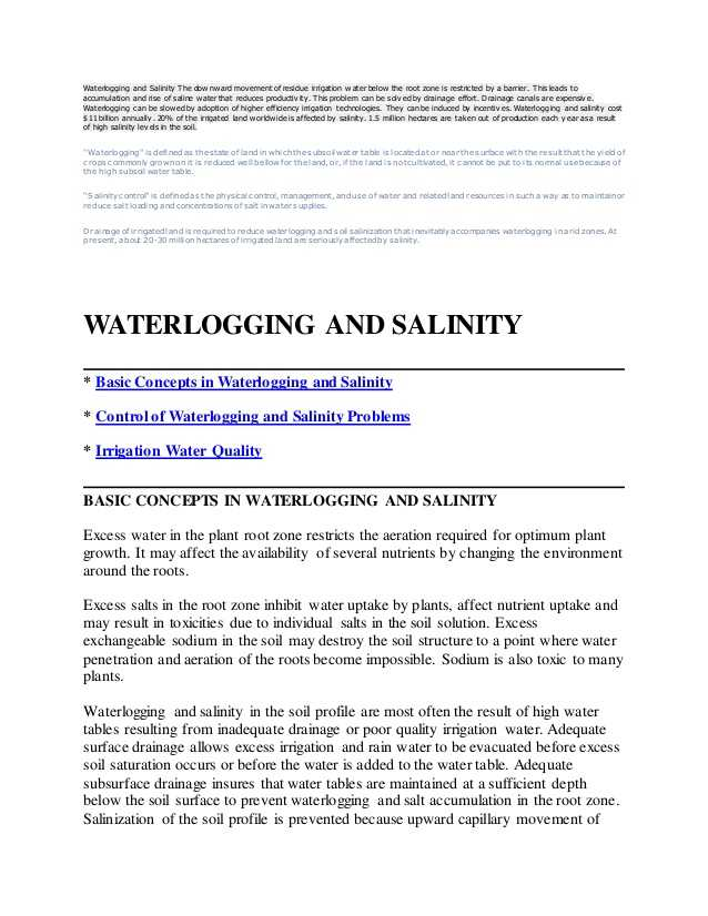 Accompanies soil Conservation Student Worksheet Along with Waterlogging and Salinity 1 638 Cb=