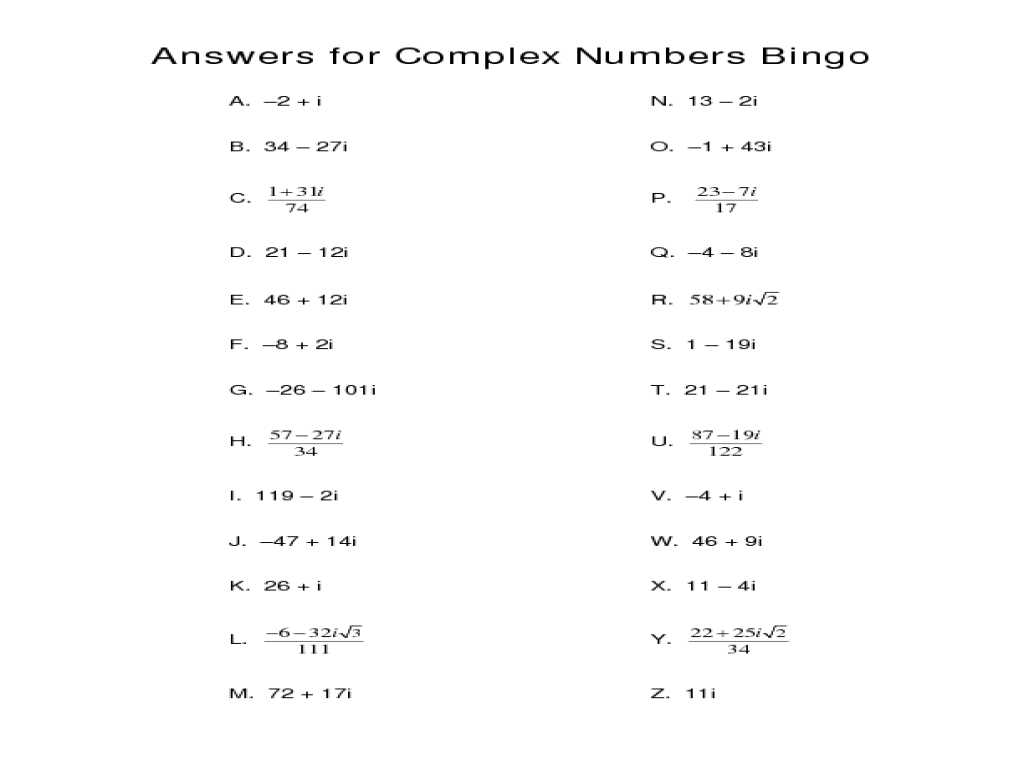 Algebra 3 4 Complex Numbers Worksheet Answers or Free Worksheets Library Download and Print Worksheets Free O