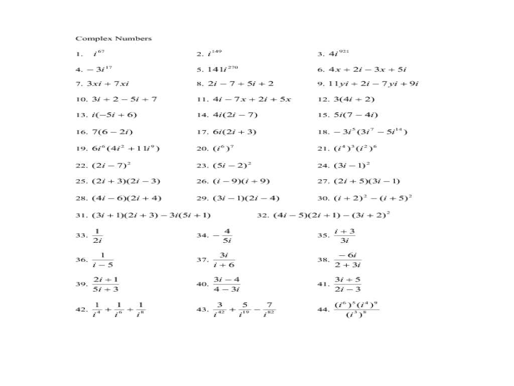 Algebra 3 4 Complex Numbers Worksheet Answers together with Plex Numbers Algebra 2 Worksheets for All Download Wo