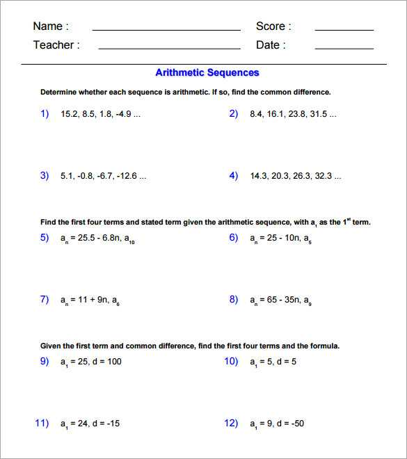 Arithmetic and Geometric Sequences Worksheet Pdf and Inspirational Arithmetic Sequence Worksheet Fresh Arithmetic