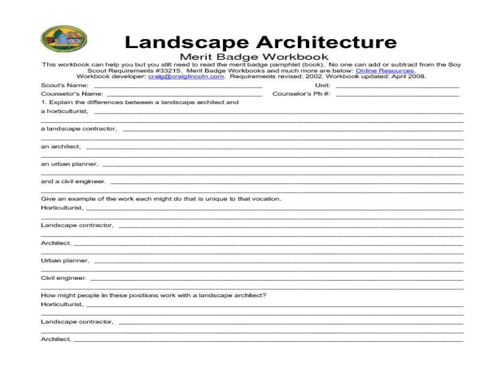 Background Research Plan Worksheet Along with New 20 Design for Landscape Architecture Merit Badge Workshe