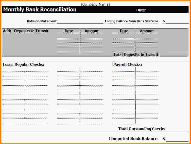 Checking Account Reconciliation Worksheet Along with Bank Statement Templatenk Reconciliation Template