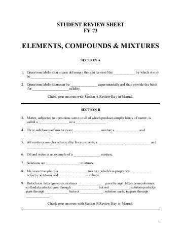 Chemistry Worksheet Types Of Mixtures Answers with Chapter 4 Directed Reading Worksheet Elements Pounds and Mixtures