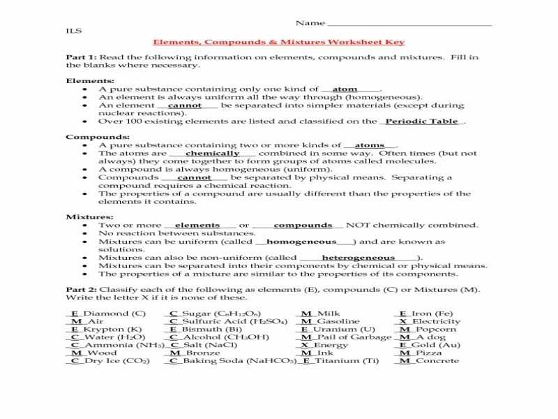 Chemistry Worksheet Types Of Mixtures Answers with Elements and Pounds Worksheet Mixtures Answers Cadrecorner