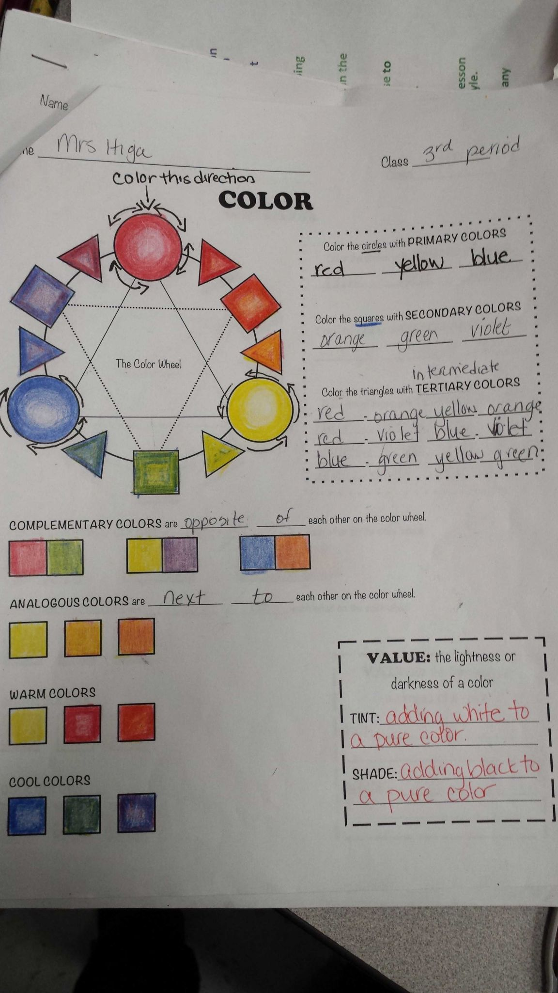 Color theory Worksheet and Color Wheel Done with Color Pencils Students Blended Colors to Make