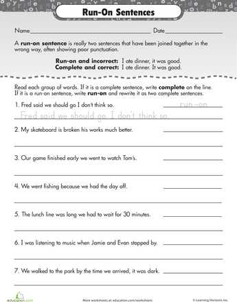 Correcting Run On Sentences Worksheets and 244 Best Eal Resources Images On Pinterest