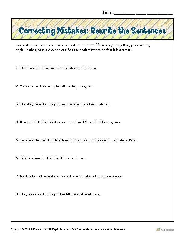 Correcting Run On Sentences Worksheets as Well as Correcting Mistakes Rewrite the Sentences
