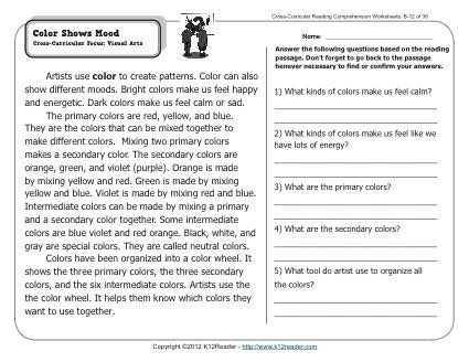 Cross Curricular Reading Comprehension Worksheets Also Color Shows Mood