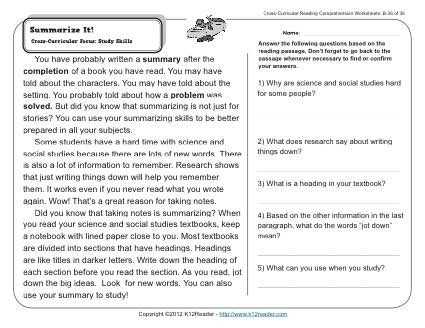 Cross Curricular Reading Comprehension Worksheets and Summarize It