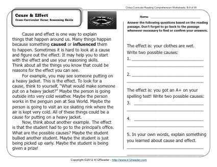 Cross Curricular Reading Comprehension Worksheets or Cause & Effect