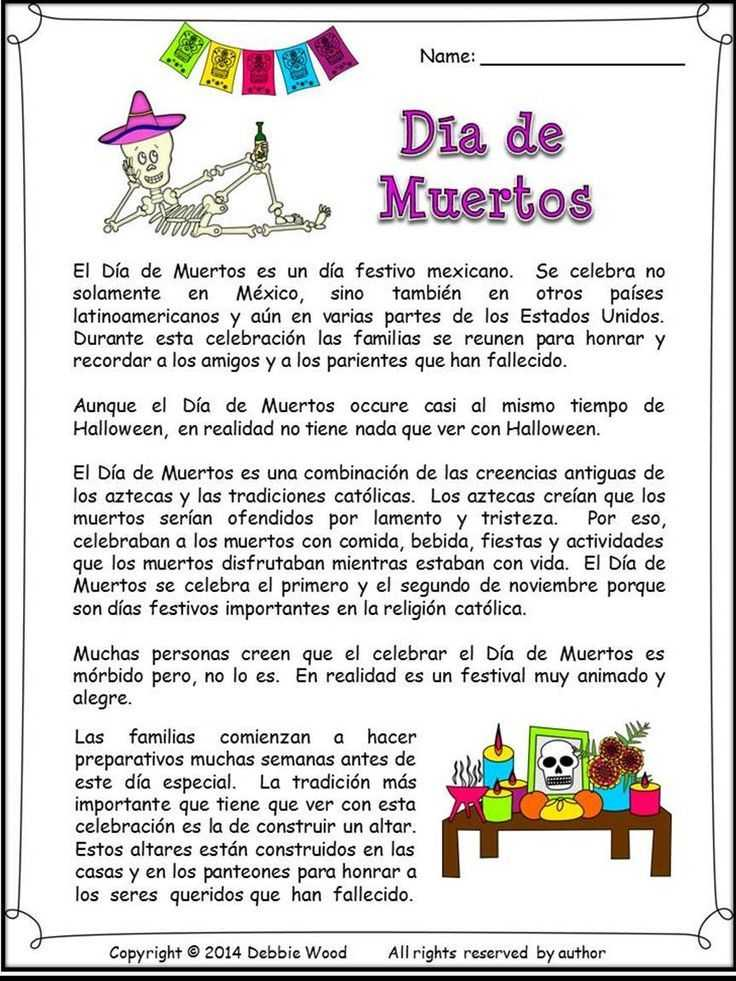 Dia De Los Muertos Worksheet and Spanish Day Of the Dead Dia De Muertos