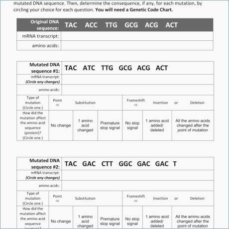 Dna Mutations Worksheet Answer Key and Dna Mutations Explained