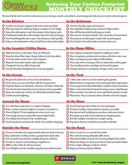 Ecological Footprint Worksheet and Reduce Your Carbon Footprint Checklist =