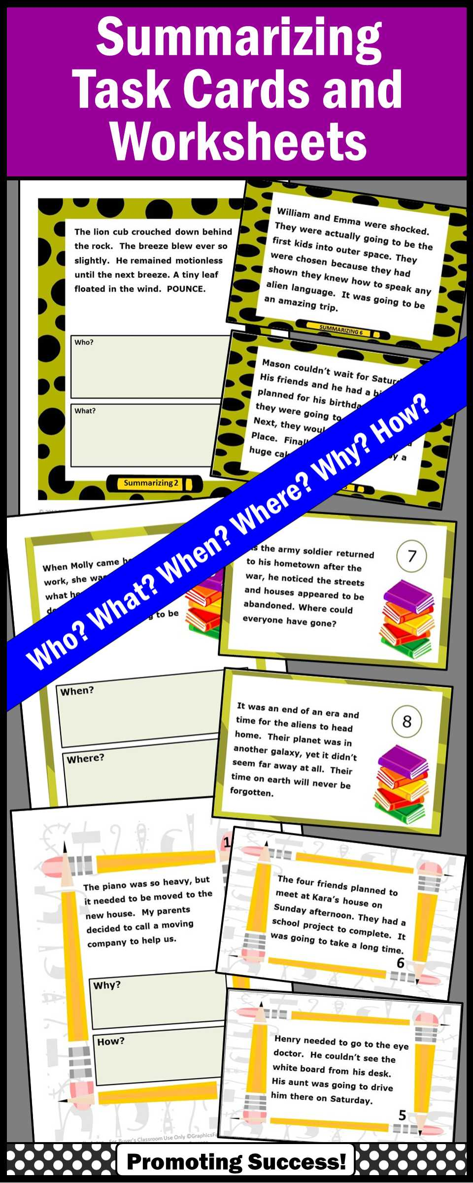 Elementary Teacher Worksheets or Summarizing Activities Bundle Wh Questions Worksheets & Task Cards