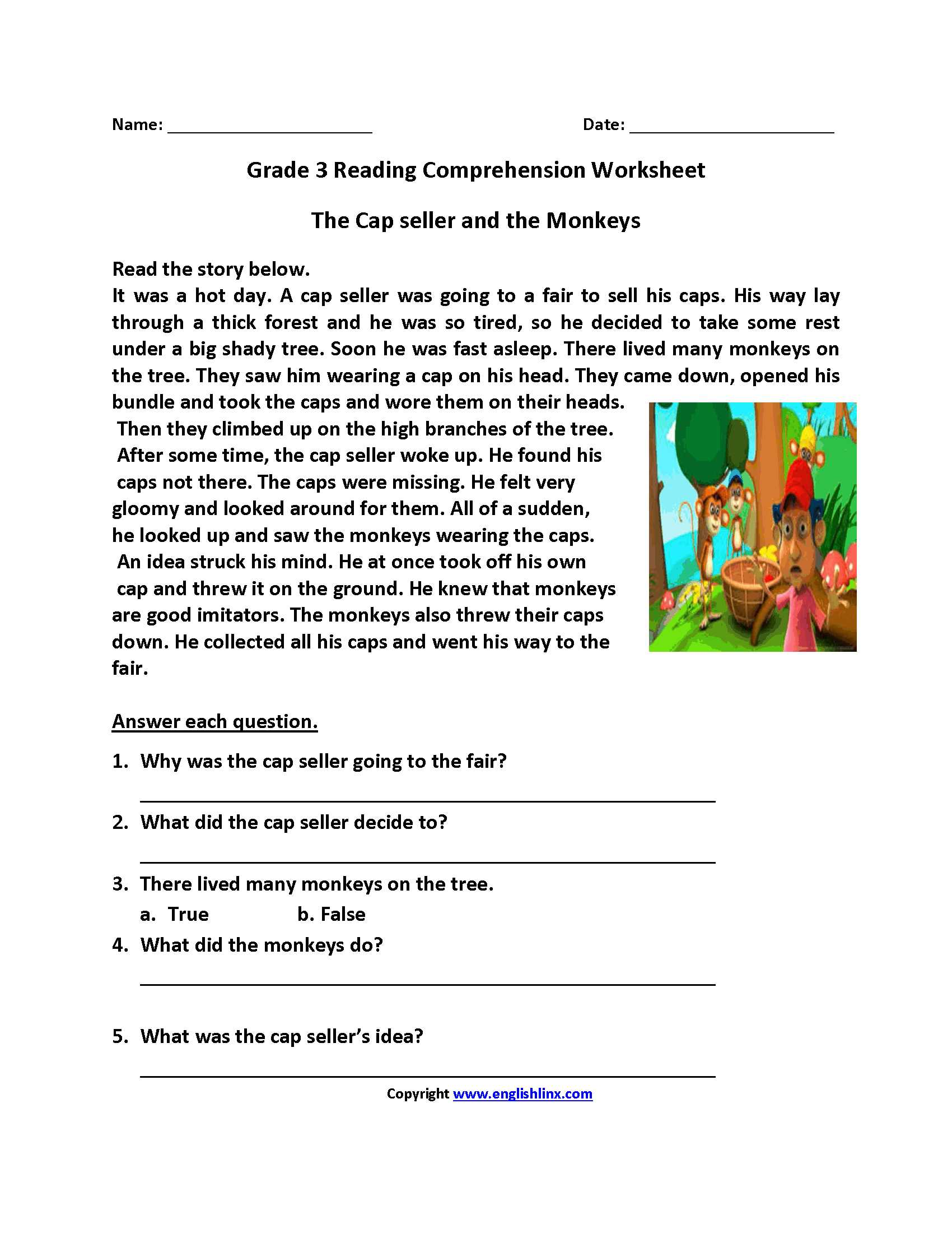 English Worksheets for Grade 1 with Cap Seller and Monkeys Third Grade Reading Worksheets