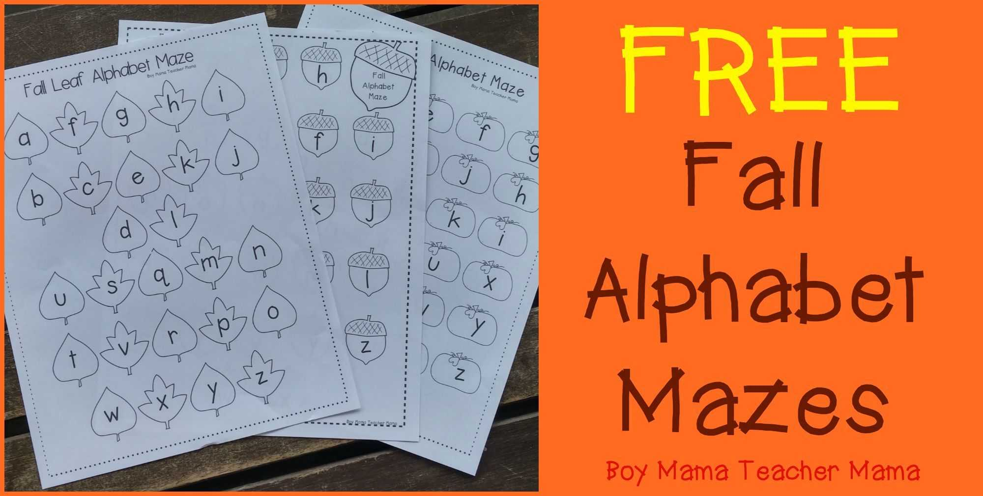 Fall Worksheets for Kindergarten or Boy Mama Teacher Mama Free Fall Alphabet Mazes