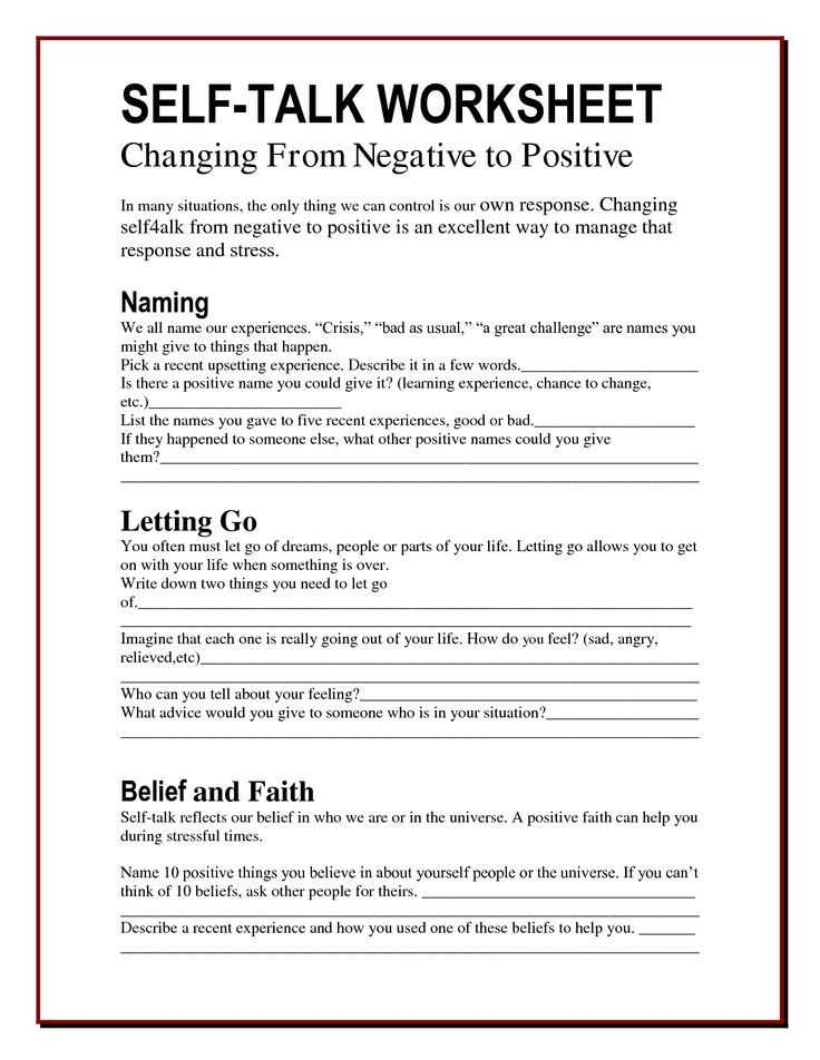 Free Printable Worksheets On Depression or the Worry Bag Self Talk Worksheet the Healing Path with Children