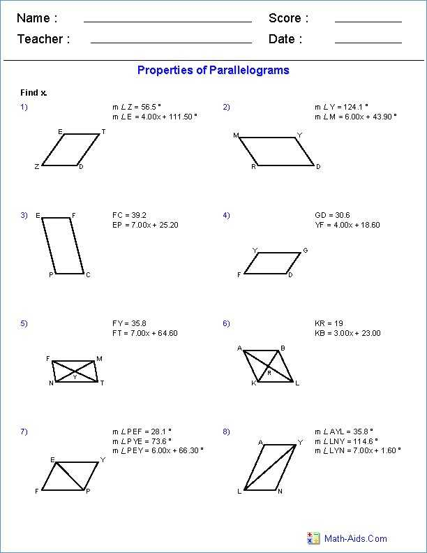 Geometry Parallelogram Worksheet with Properties Trapezoids Worksheet