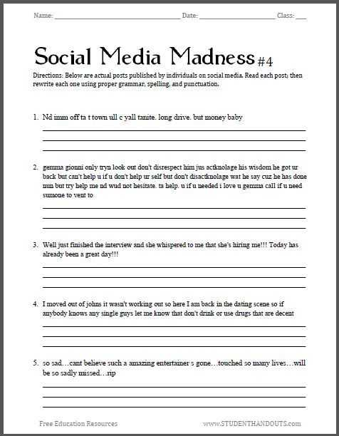 Grammar and Punctuation Worksheets together with social Media Madness Worksheet 4 Fourth Free Printable Worksheet
