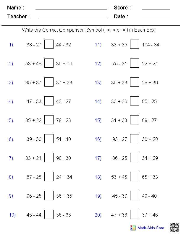 Greater Than Less Than Worksheets for Kindergarten or Greater Than Less Than Worksheets Math Aids