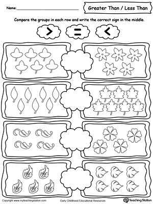 Greater Than Less Than Worksheets for Kindergarten with Using Less and Greater Than Signs by Paring the Number Of Leaves