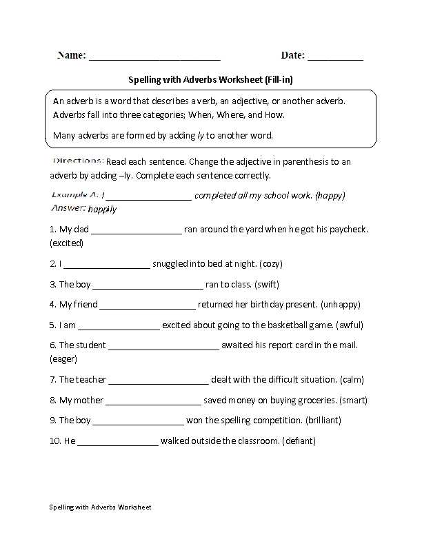 Identifying Adverbs Worksheet as Well as Fill In Spelling with Adverbs Worksheet