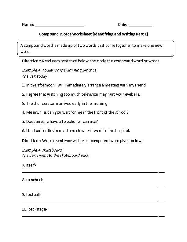 Identifying Adverbs Worksheet as Well as Identifying and Writing Pound Words Worksheet