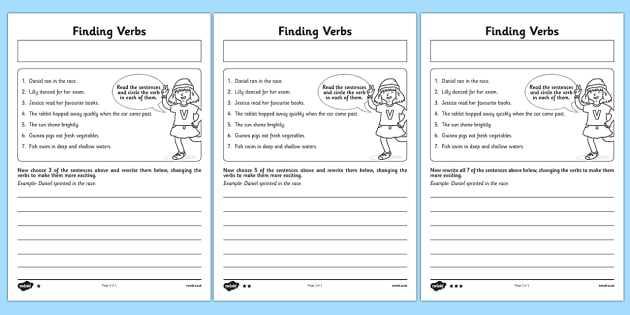 Identifying Adverbs Worksheet or Finding Verbs Worksheet Activity Sheet Finding Verbs