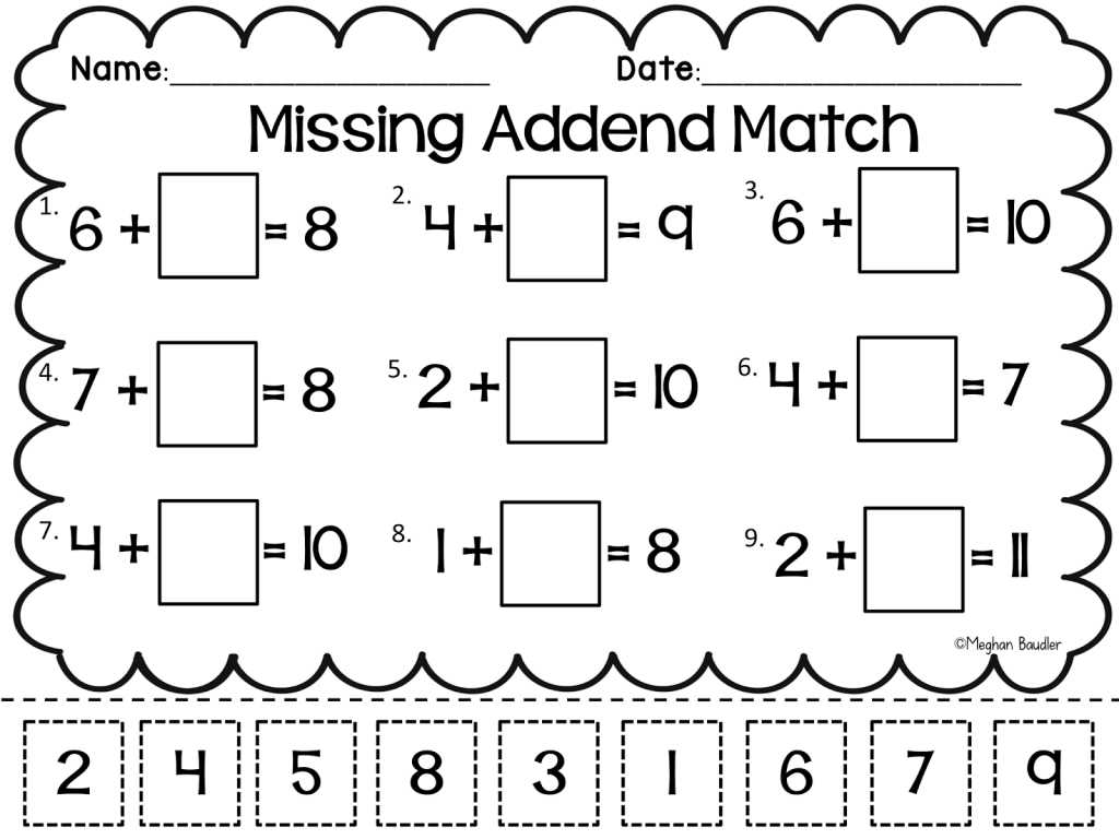 Identifying theme Worksheets Along with Grade Worksheet Missing Addend Worksheets First Grade Gras