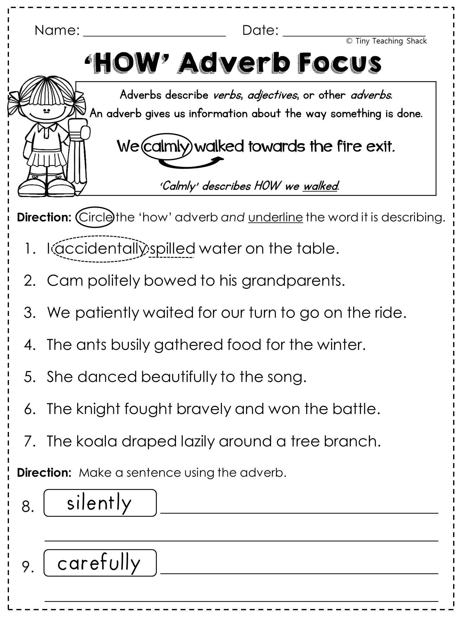 Inference Worksheets 3rd Grade and Free Adverb Worksheet Printables Pinterest