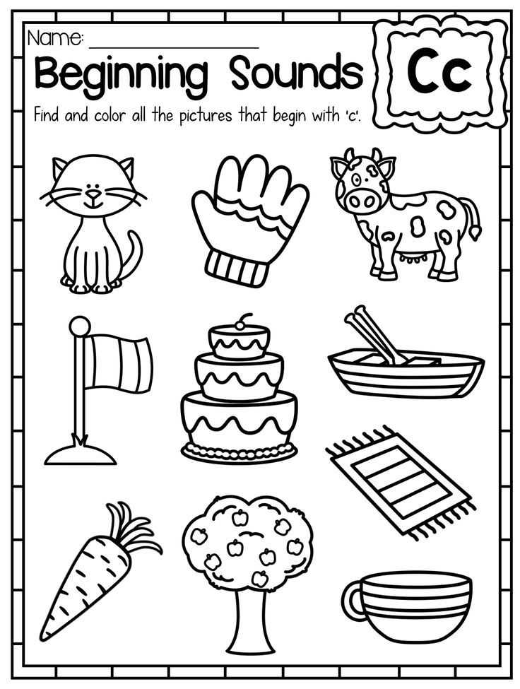 Initial sounds Worksheets with Beginning sounds Worksheets Color by sound