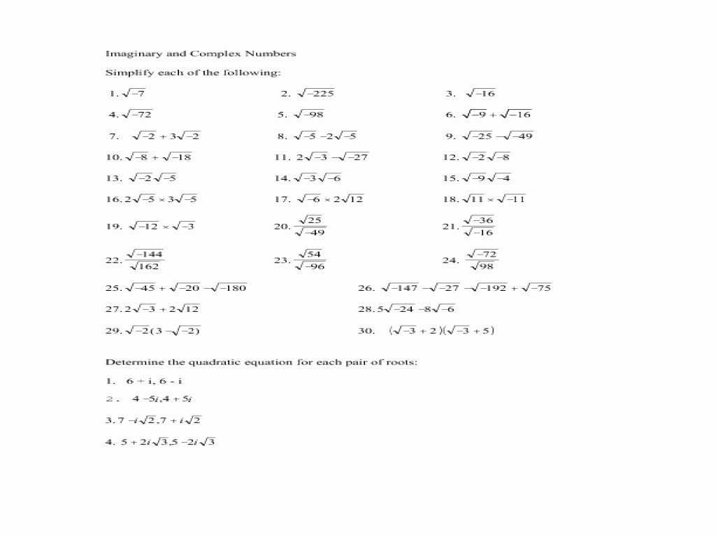 Inverse Functions Worksheet with Answers as Well as Plex Numbers Worksheet Super Teacher Worksheets