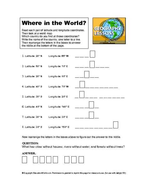 Latitude and Longitude Worksheets 7th Grade or 57 Best Geography Images On Pinterest