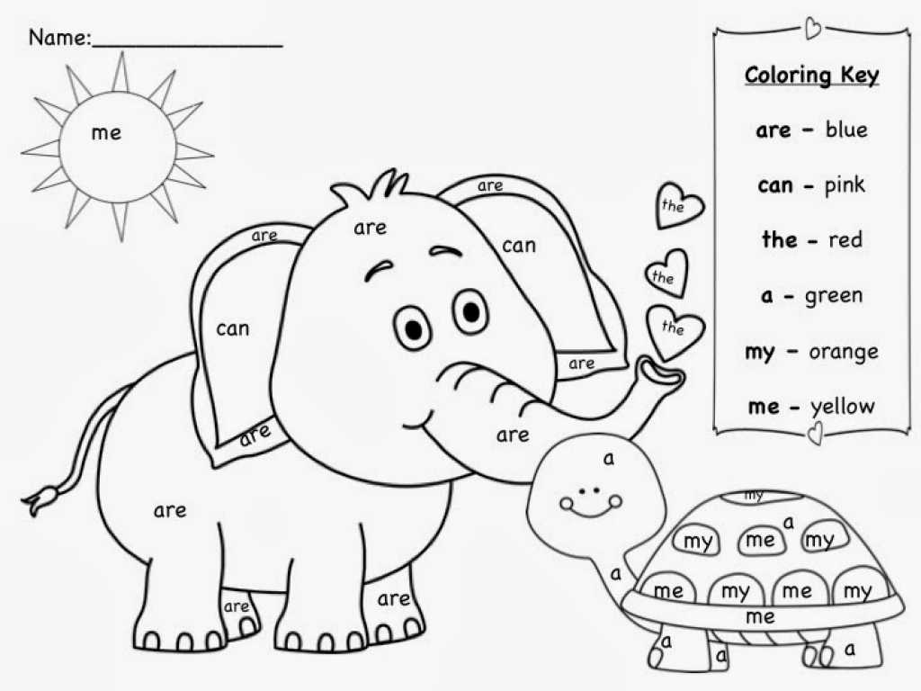 Learning Colors Worksheets Along with Animal Sight Word Coloring Pages Womanmate