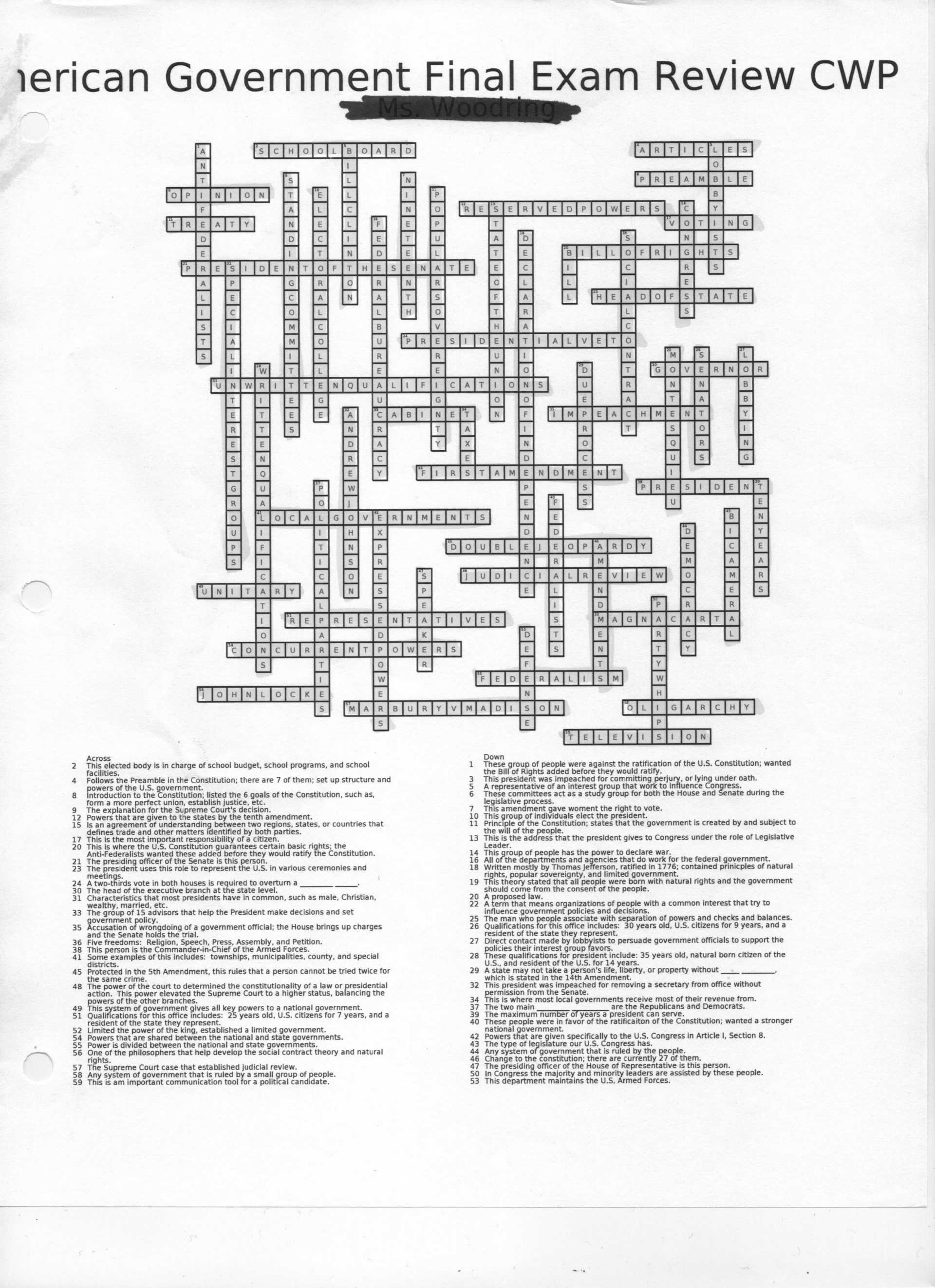 Legislative Branch Worksheet Middle School or Crossword Usnment Puzzle Printable Challenging Clueskey Answer Keys